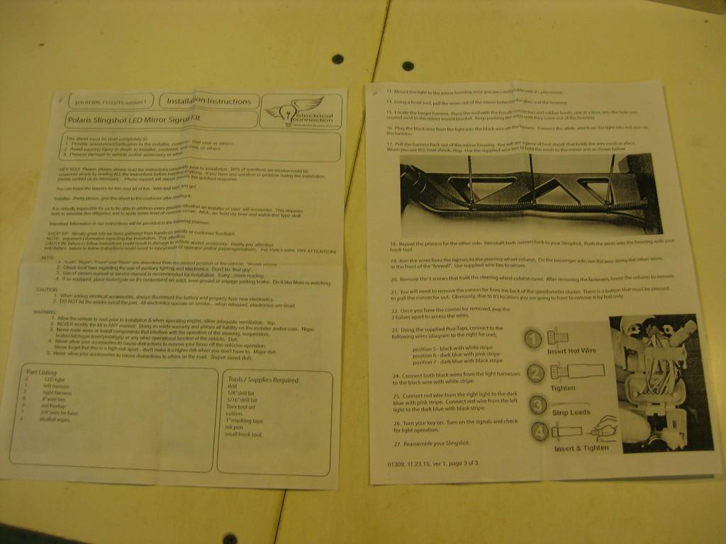 Led Turn Signal Kit Full Install Part 1 Polaris Slingshot Forum Wiring Diagram Instruction Sheets 01